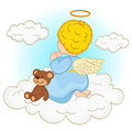 Angel baby boy on cloud Royalty Free Stock Photo