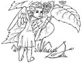 Angel and berry image of an who vomits drawing on paper Royalty Free Stock Images