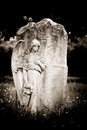Angel on blank headstone left for your design Royalty Free Stock Photography