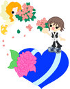 An angel and a bouquet on blue heart with went down Stock Images