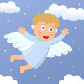 Angel Boy Flying in the Sky Stock Photo