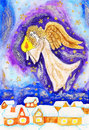 Angel with candle, painted Christmas picture Royalty Free Stock Photo