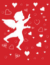 Angel catching hearts Stock Images