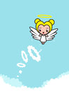 Angel character flying through the clouds with a halo heading to heaven Stock Photos