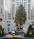 Angel Christmas Decorations and Christmas Tree at the Rockefeller Center in Midtown Manhattan Royalty Free Stock Photo