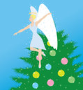 Angel and christmas drawing of an angle a tree Stock Image
