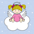 Angel on a cloud wings greeting card Stock Image