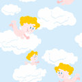 Angel and clouds seamless pattern. Cute little Holy babe. Royalty Free Stock Photo