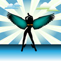 Angel with colorful wings Royalty Free Stock Photo