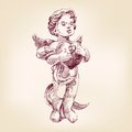 Angel or cupid llustration hand drawn Stock Photography