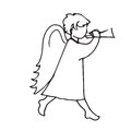 Angel cute little man to play the trumpet Royalty Free Stock Photo