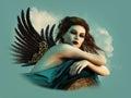 Angel with dark Wings 3d CG