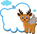 Angel deer with message. Christmas card.