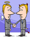 Angel and devil businessmen cartoon concept illustration of or politicians shaking hands Stock Photography