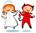 Angel and devil cartoon isolated on a white background Stock Images