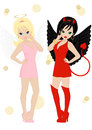 Angel and devil in female appearance isolated on white background Royalty Free Stock Photo