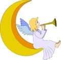 Angel with flute christmas fairy on moon Royalty Free Stock Photography