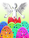 Angel that is flying out of an easter egg Stock Image