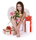 Angel with gift box and flower. Royalty Free Stock Photo