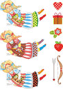 Angel girl fly cupid set colour variations with a bow and an arrow design elements for a holiday Royalty Free Stock Photos