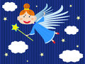 Angel girl flying in the clouds cartoon Royalty Free Stock Image
