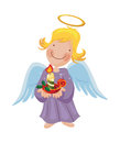 Angel girl holding a christmas burning candle in her hand Stock Images