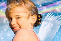Angel girl with rainbow Royalty Free Stock Photo