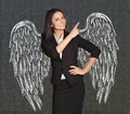 Angel girl with wings painted on the wall Royalty Free Stock Photo