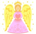 Angel heart cute illustration of an holding a Stock Image