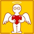 Angel with heart illustration of cherub in hands Royalty Free Stock Image