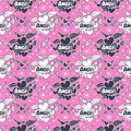 Angel hearts and wings, seamless pattern.