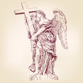 Angel holding a cross hand drawn vector Royalty Free Stock Photo