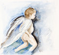 Angel human child is the flying concept watercolor hanmade painted art illustration Royalty Free Stock Photo