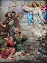 Angel of the Lord visited the shepherds and informed them of Jesus` birth Royalty Free Stock Photo