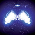 Angel nimbus and wings on black background. Royalty Free Stock Photo