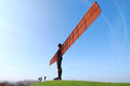 Angel of the north attraction tourists stand below huge statue near gateshead Stock Image