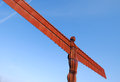 Angel of the north view statue with blue sky Stock Photos
