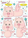 Angel Pig Say Hello_eps Stock Photos