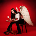 Angel playing cards Stock Photography