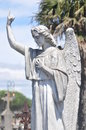 Angel pointing to heaven beautiful on a grave at the historic graveyard of carcassonne in france the is upwards reminding Stock Images