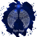 Angel's wings and nimbus on watercolor background Royalty Free Stock Photo