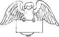 Angel and sign black white holding empty Royalty Free Stock Photo