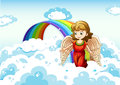 An angel in the sky near the rainbow Royalty Free Stock Photo