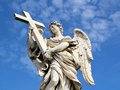 Angel Statue with cross. Royalty Free Stock Photo