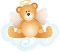 Angel teddy bear on cloud