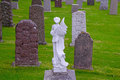 Angel and tombstones an marble watching over Royalty Free Stock Photos