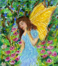 Angel walking in the garden. Royalty Free Stock Image