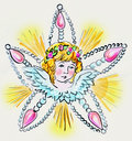 Angel watercolour peinting of christmas decoration Stock Photos