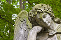 Angel weathered statue of an tombstone old prague cemetery czech republic europe Royalty Free Stock Photos