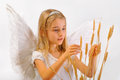 Angel with wheat classes Stock Photo